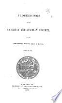American Antiquarian Society Proceedings