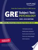 Kaplan GRE Exam Subject Test: Psychology 2009-2010 Edition