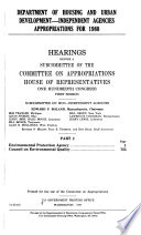 Department of Housing and Urban Development--independent Agencies Appropriations for 1988: Environmental Protection Agency