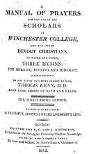 A Manual of Prayers for the use of the Scholars of Winchester College     The twenty fourth edition  etc