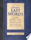 Immortal Last Words Book PDF