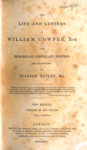 The Life and Letters of William Cowper     New Edition  Complete in One Volume  With a Portrait