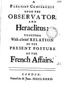 A Pleasant Conference Upon the Observator and Heraclitus