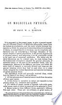 On Molecular Physics From The American Journal Of Science Etc