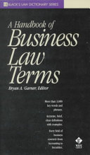 A Handbook of Business Law Terms Book