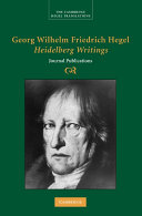 Georg Wilhelm Friedrich Hegel: Heidelberg Writings: Journal ...