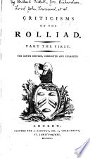 Criticisms On The Rolliad Part The First Book