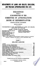 Departments of Labor and Health, Education, and Welfare Appropriations for 1979
