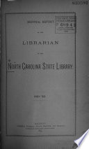 Biennial Report of the Librarian of the North Carolina State Library