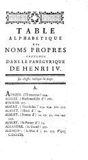 Pan  gyrique de Henri Le Grand Ou   loge Historique de Henri IV  Roi de France Et de Navarre