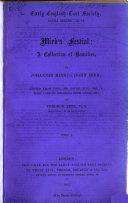 Mirk's Festial: Early Eng. text soc. ex. ser., 96