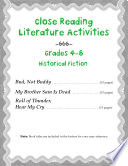 Close Reading Literature Activities For Grades 4 8 Historical Fiction Book PDF