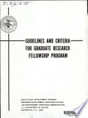 Guidelines and Criteria for Graduate Research Fellowship Program