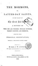 The Mormons  Or  Latter day Saints  in the Valley of the Great Salt Lake