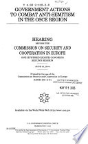 Government Actions To Combat Anti-Semitism in The OSCE Region, [CSCE 108-2-6], June 16, 2004, 108-2 Hearing, *