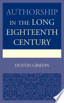 Authorship In The Long Eighteenth Century