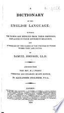 A Dictionary of the English Language     Abridged from the Rev  H  J  Todd s corrected and enlarged     edition  by Alexander Chalmers