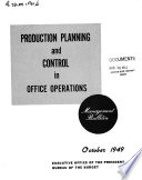 Management Bulletin Production Planning And Control In Office Operations Book PDF