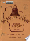 Report of the Wisconsin Legislative Council  , Band 7,Teil 3