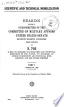 Scientific And Technical Mobilization Hearing Before A Subcommittee S 702 March 30 1943