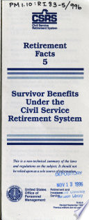 Survivor Benefits Under the Civil Service Retirement System  CSRS  Book