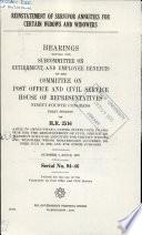 Reinstatement of Survivor Annuities for Certain Widows and Widowers Book