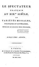 Le Spectateur français au XIXme siècle, ou