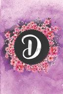 Cherry Blossom Flowers Letter D Journal