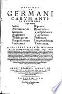 Originum Ac Germanicarum Antiquitatum Libri Leges Videlicet Salicae Allemannorum Saxonum Angliorum Thuringorum