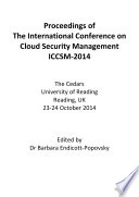 Iccsm2014 Proceedings Of The International Conference On Cloud Security Management Iccsm 2014 Book PDF