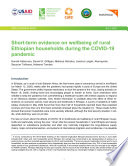 Short term evidence on wellbeing of rural Ethiopian households during the COVID 19 pandemic