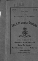 Banquet of the California Society of the Sons of the American Revolution Book