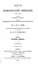 Manual of Hom  opathic Medicine  translated from the third edition      by J  Laurie  with a preface by P  Curie