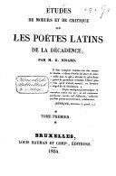 Études de mœurs et de critique sur les poëtes latins de la décadence