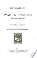 The Private Life of Warren Hastings Book
