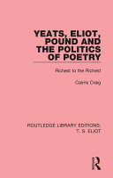 Pdf Yeats, Eliot, Pound and the Politics of Poetry Telecharger