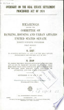 Oversight on the Real Estate Settlement Procedures Act of 1974