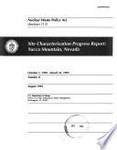 Site Characterization Progress Report