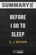 Summary of Before I Go to Sleep Book