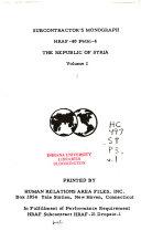The Republic of Syria Book