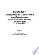 Eceg2007 Proceedings Of The 7th European Conference On E Government