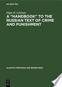 A    Handbook    to the Russian Text of Crime and Punishment