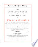 The Complete Works In Prose And Verse Of Francis Quarles