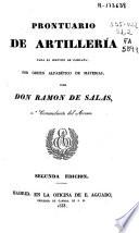 Prontuario de artillería para el servicio de campaña, por orden alfabético de materias
