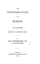 The Interpretation of the Bible