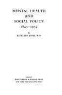 mental health and social policy 1845 1959 jones kathleen