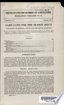 Game Laws For The Season 1932 33 Book PDF