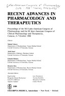 Recent Advances in Pharmacology and Therapeutics