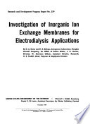 Investigation of Inorganic Ion Exchange Membranes for Electrodialysis Application