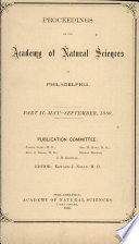 Proceedings Of The Academy Of Natural Sciences Part Ii May Sept 1889